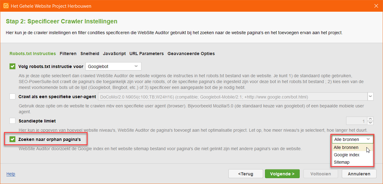 Website Optimalisatie Orphan Pagina's
